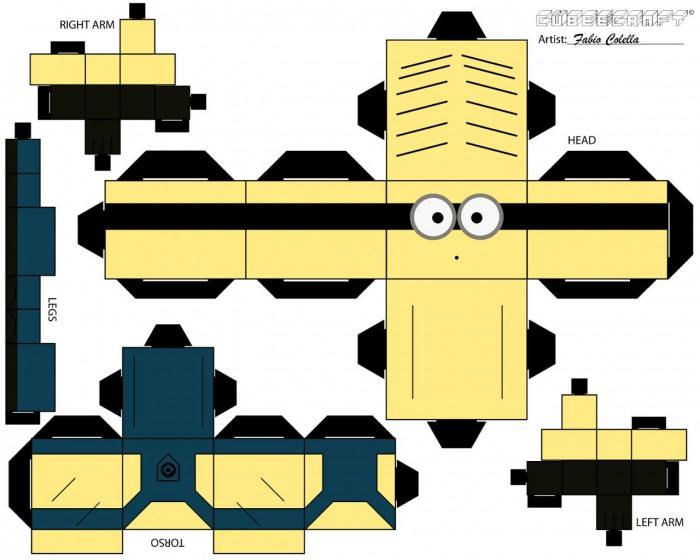 Bastelvorlage für einen eigenen Papier-Minion - Link im Fazit