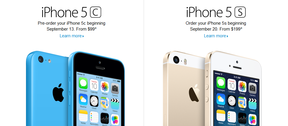 iPhone 5C und 5S im Store