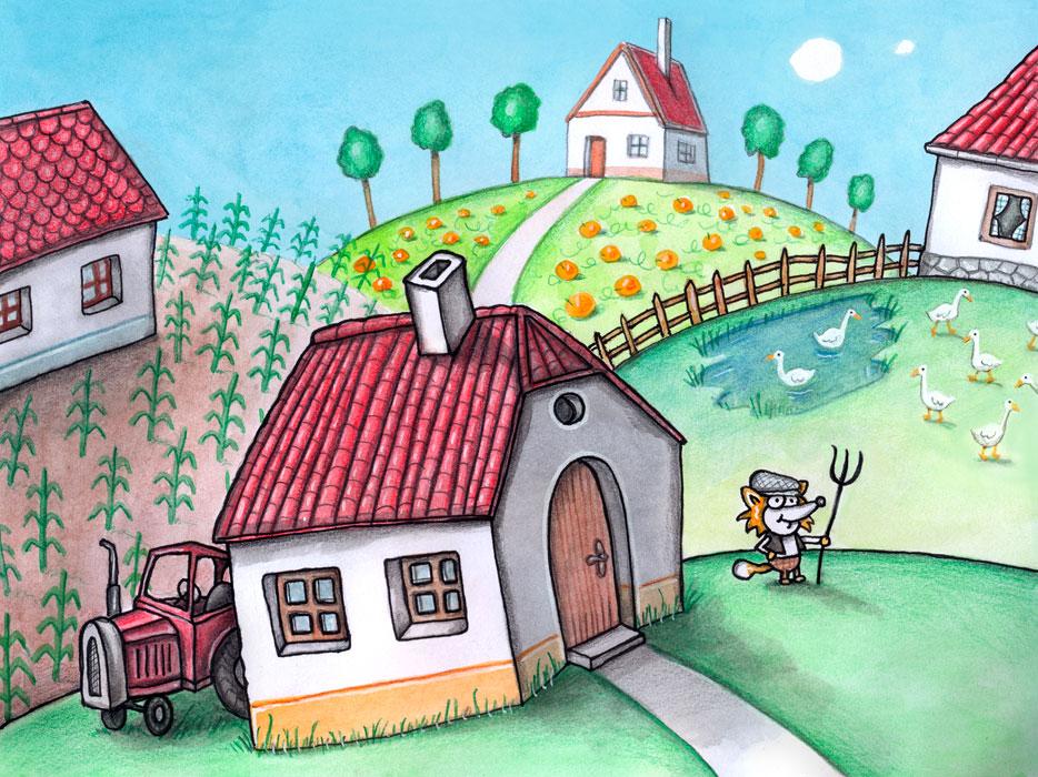 Im zweiten Buch über die Abenteuer von Ferris Fuchs erzählt sein Großvater, wie er damals das Taschenmesser erhielt. Auf dem Bild ist der Großvater während seiner Kindertage auf einem Bauernhof zu sehen.