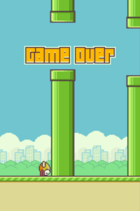 Game Over bei Flappy Bird durch Absturz.