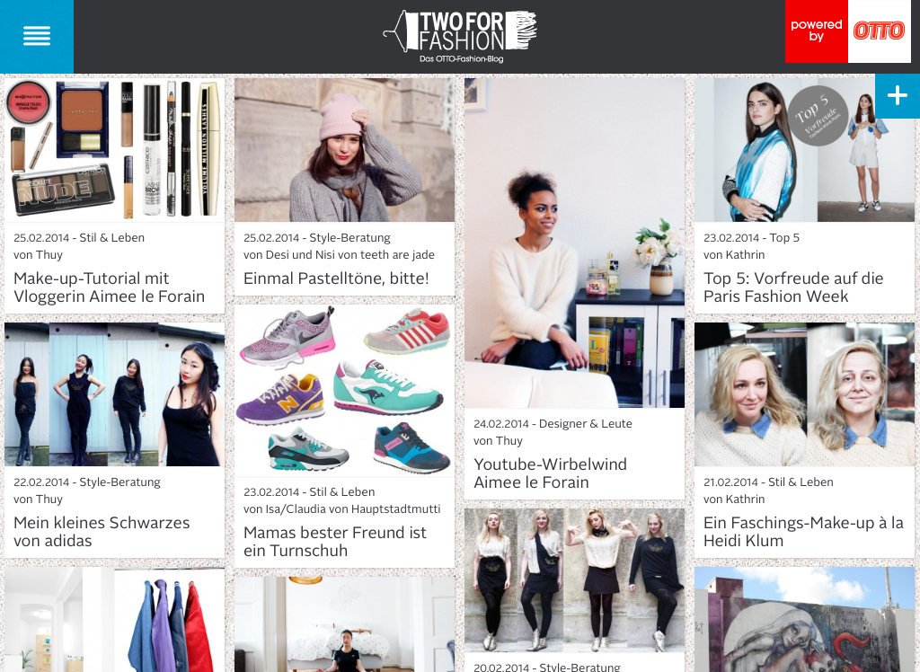 Auf der Startseite von Two for Fashion findet Ihr täglich das Neueste aus Mode und Styling.