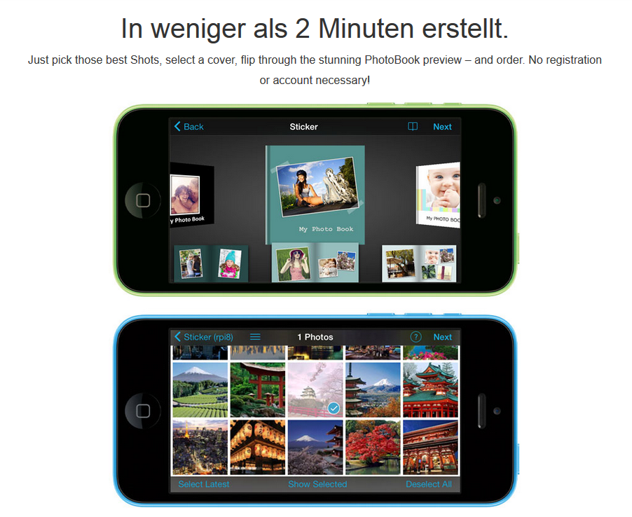 PhotoBook Screenshots auf iPhone 5C