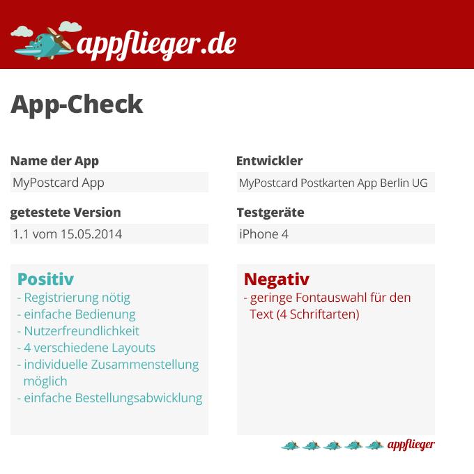 appflieger bewertet die MyPostcard App mit 5 von 5 appfliegern.