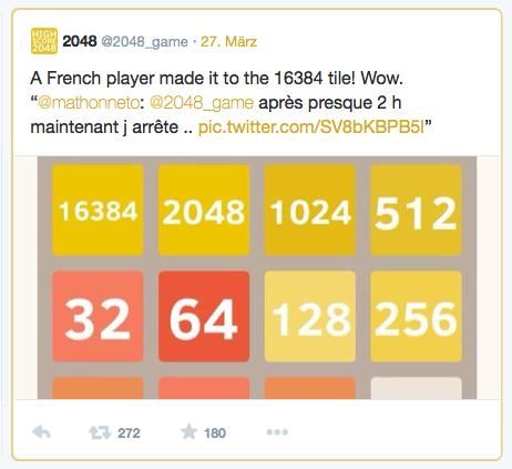Erstaunlicher Rekord bei 2048: ein Franzose schaffte es bis zum 16.384er Panel!