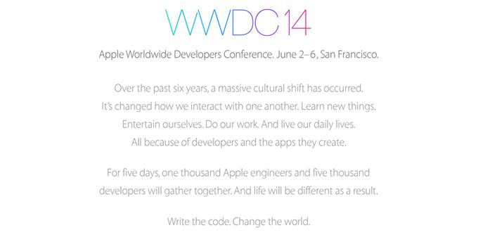 Ankündigung von Apple zur WWDC 2014