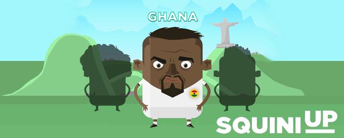Im Beitragsbild für SQUINI UP ist ein Nationalspieler aus Ghana und die Kulisse von Rio de Janiero in Brasilien zu sehen.
