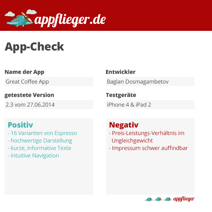 appflieger App-Check Great Coffee App