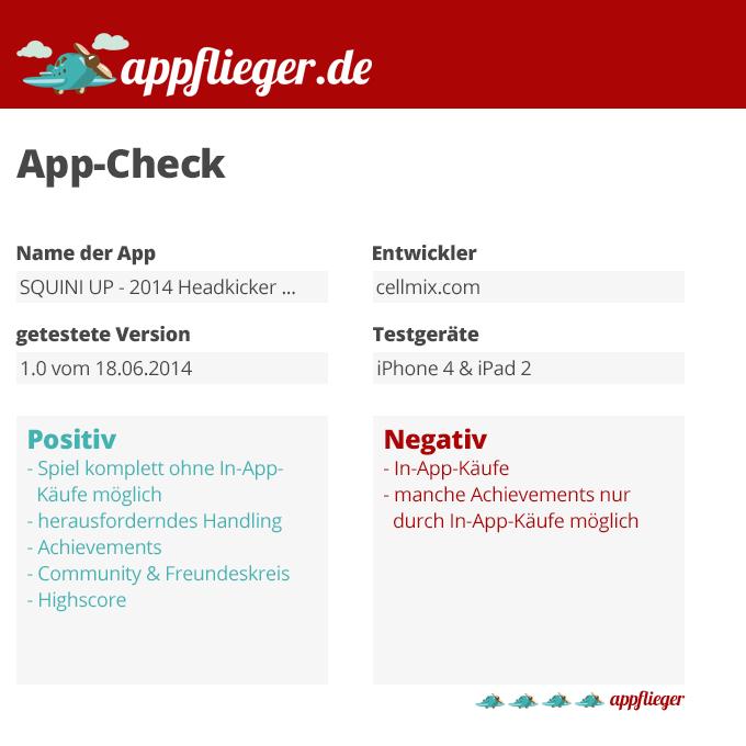 """appflieger hat die App """"Squini up"""" getestet und mit 4 von 5 appfliegern bewertet."""