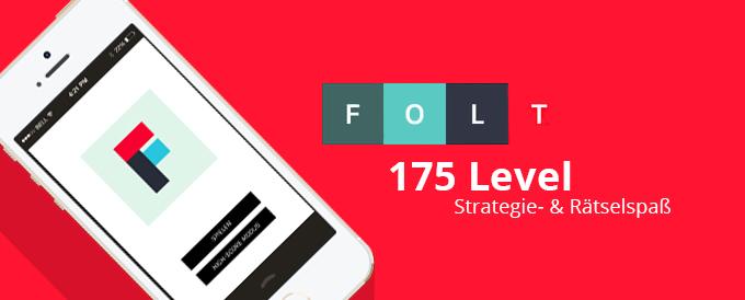 Die App Folt ist ein Strategiespiel, in dem 3 gleichfarbige Felder verbunden werden müssen.