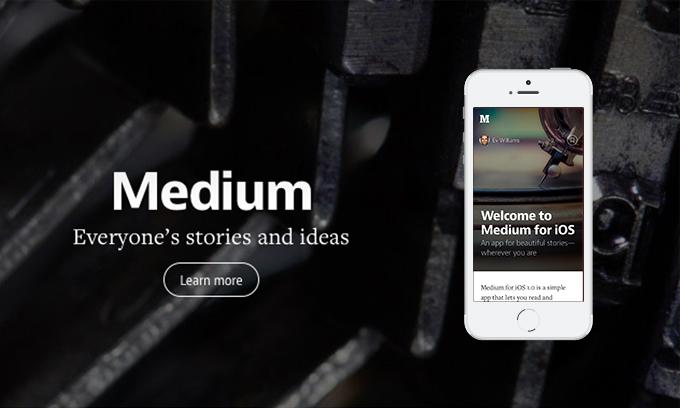 Hier werden Screenshots aus der Medium App gezeigt.