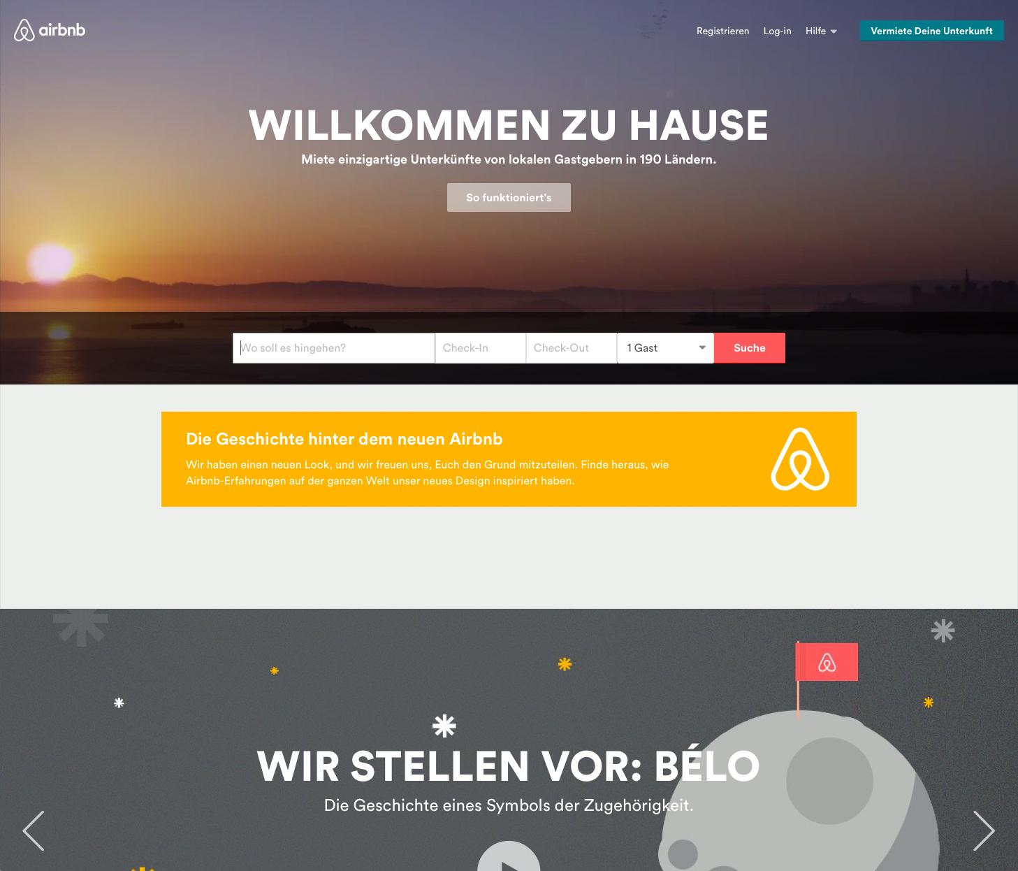 Das ist die Website von airbnb nach dem ReDesign.