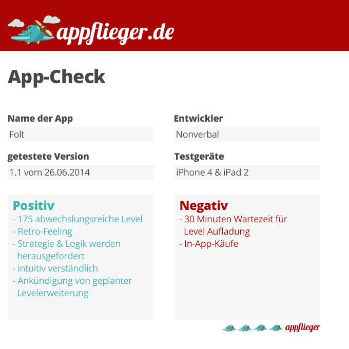 Der App-Check für Folt fällt mit 4 von 5 appfliegern aus.