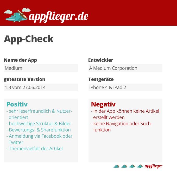Die Medium App wurde mit 4 von 5 appfliegern bewertet.