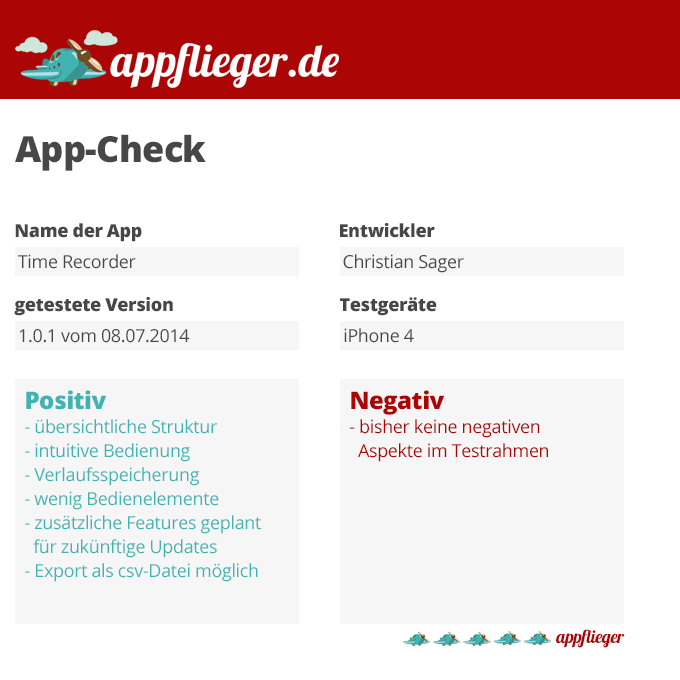 Im appflieger App-Check haben wir TimeRecorder mit 5 von 5 appfliegern bewertet.