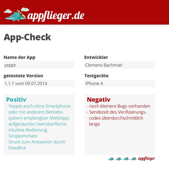 Die App Yeppt wurde mit 4 von 5 appfliegern bewertet.