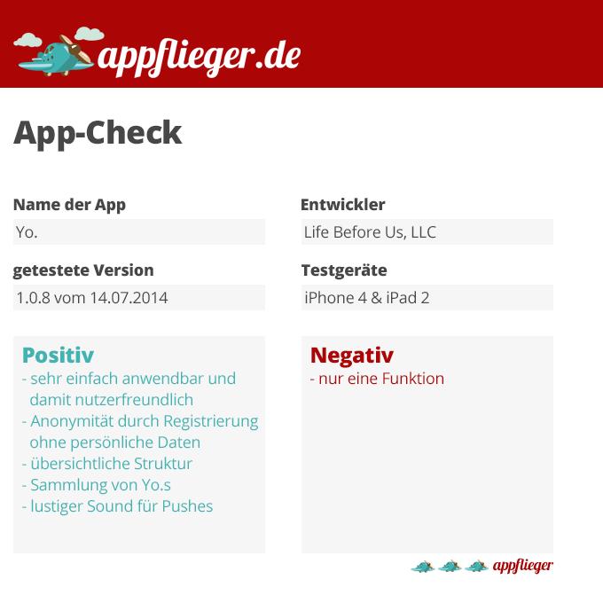 Die App Yo. wurde mit 3 von 5 appfliegern bewertet.