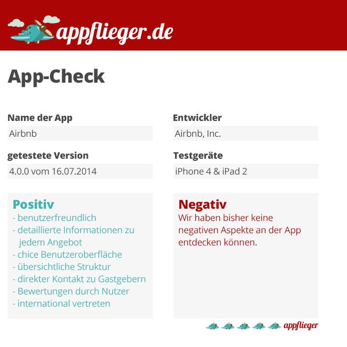 Die App Airbnb wurde mit 5 von 5 appfliegern bewertet.