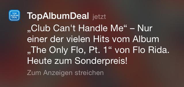 So sieht die Push Benachrichtigung für einen Top Album Deal aus.