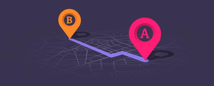 Das Bild zeigt eine Routenplanung von A nach B durch ein Straßennetz auf lila Hintergrund.