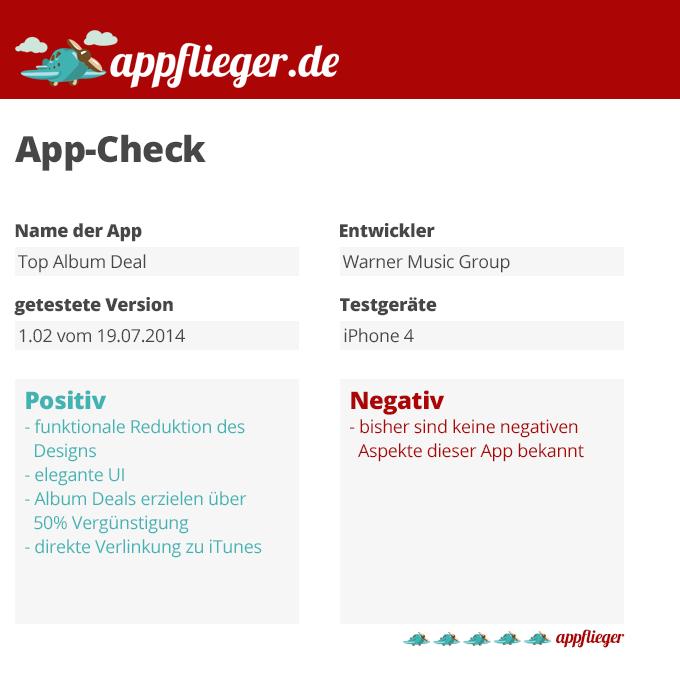Die App Top Album Deal wurde mit 5 von 5 appfliegern bewertet.