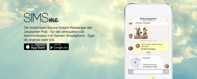 Die SIMSme App von der Deutschen Post soll ein sicherer Messenger sein.