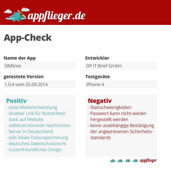 Die SIMSme App wurde mit 4 von 5 appfliegern bewertet.