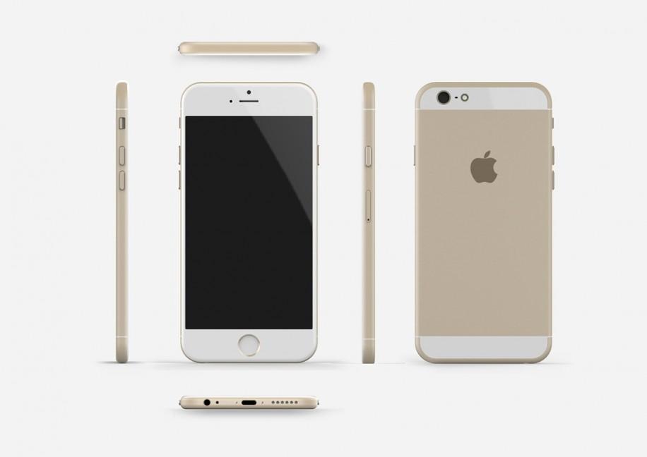 Verschiedene Ansichten des erwarteten iPhone 6 in Gold.