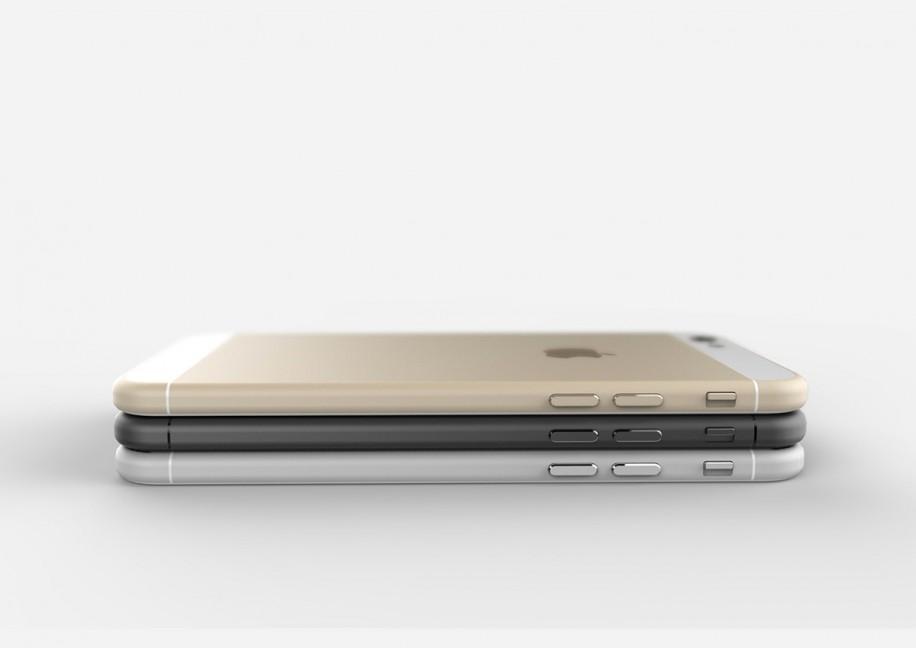 Stapel mit den drei erwarteten Farbvarianten des iPhone 6.