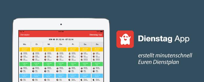 Hier ist die Dienstag App abgebildet.
