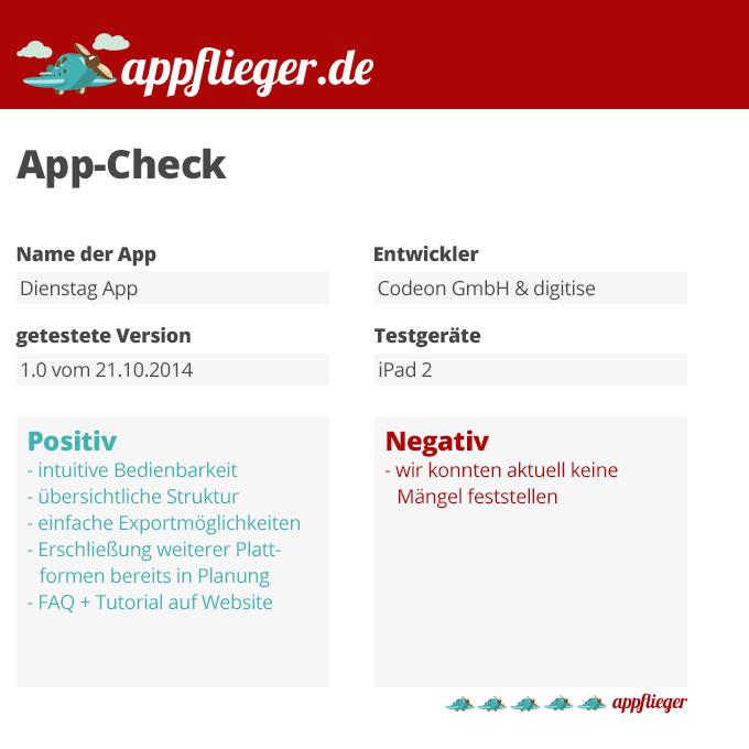 Die Dienstag App wurde mit 5 von 5 appfliegern bewertet.