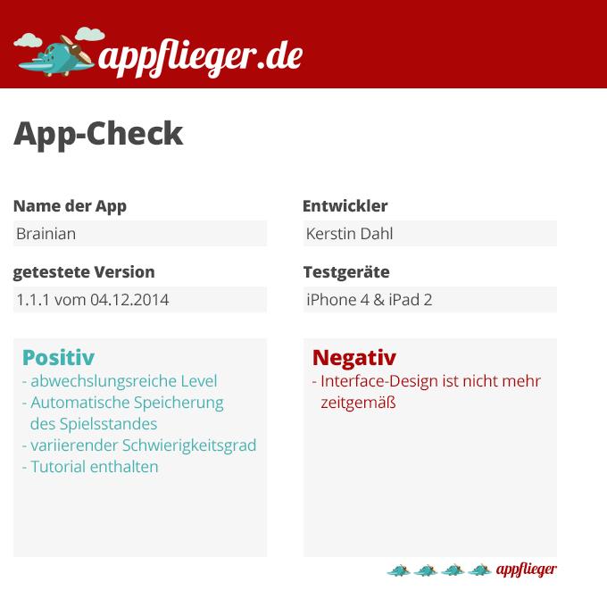 Die App Brainian wird mit 4 von 5 appfliegern bewertet.