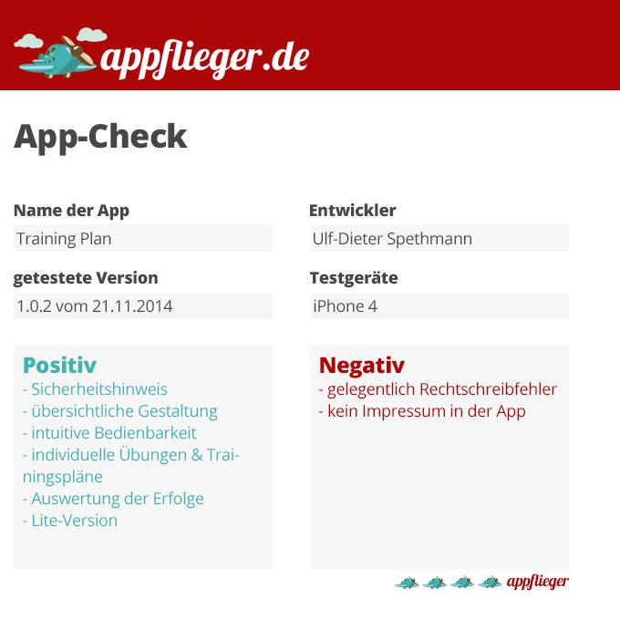 Die App Training Plan wurde mit 4 von 5 appfliegern bewertet.
