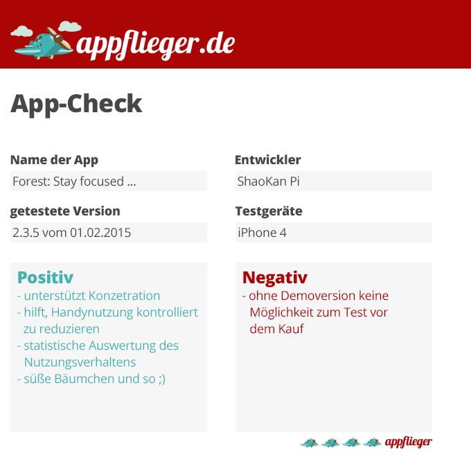 Die Forest-App wurde mit 4 von 5 appfliegern bewertet.