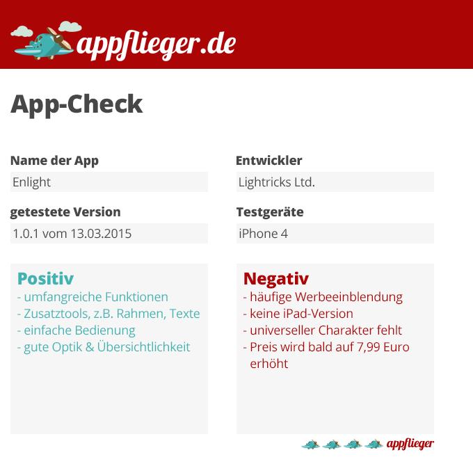 Die Fotobearbeitungs-App Enlight wird mit 4 von 5 appfliegern bewertet.
