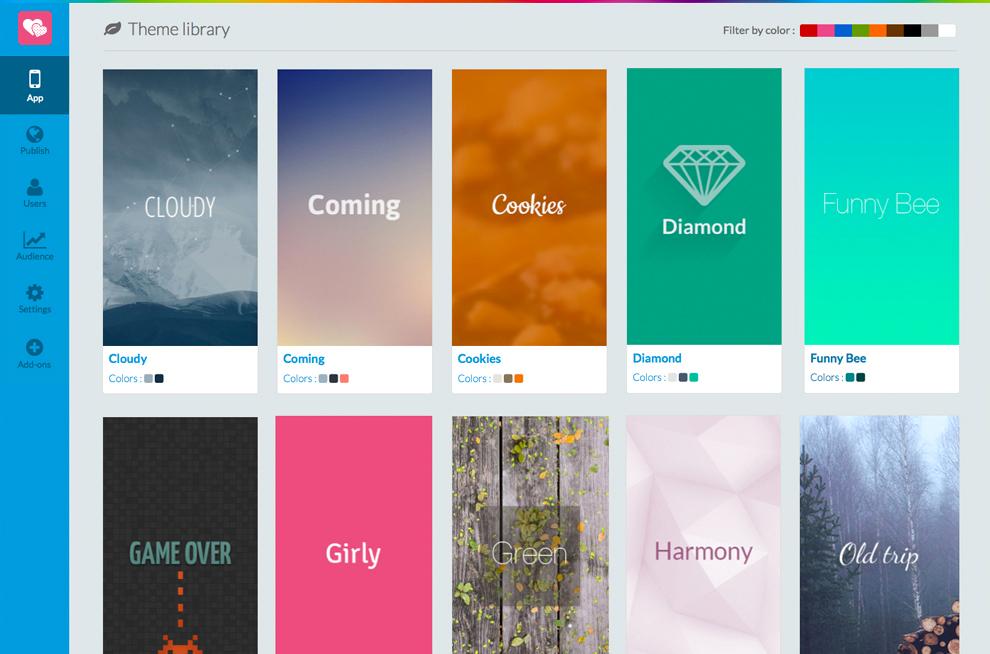 GoodBarber bietet über 50 verschiedene Template-Vorlagen für Nutzer, denen kein Grafiker zur Verfügung steht.