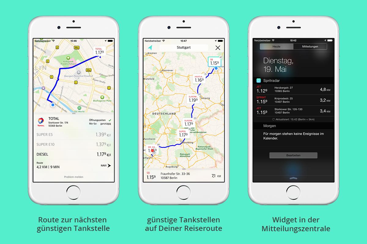 Die App Spritradar zeigt die günstigste Tankstelle in der Umgebung oder auf der Reiseroute an.