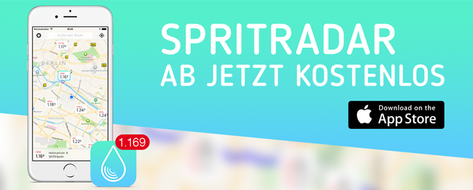 Die App Spritradar zeigt die günstigste Tankstelle in der Umgebung an.